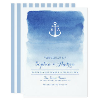 Modern watercolor nautical anchor beach wedding card