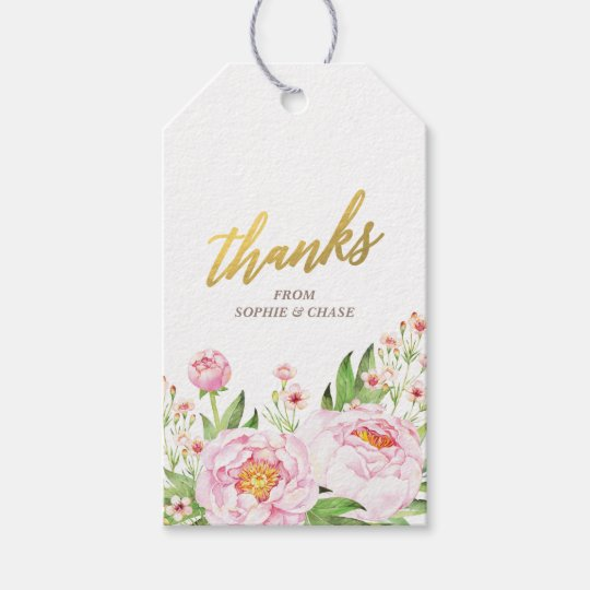 Modern Watercolor Peonies Wedding Favour Tags