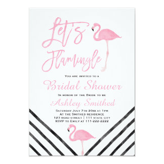 Modern watercolor pink flamingo bridal shower 13 cm x 18 cm invitation card