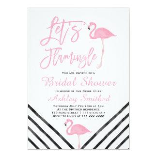 Modern watercolor pink flamingo bridal shower card