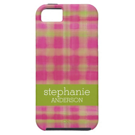 Modern Watercolor Plaid Pattern Baby Shower iPhone 5/5S Cover