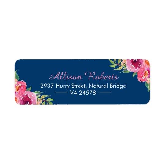 Modern Watercolor Purple Red Pink Floral Navy Blue Return Address Label