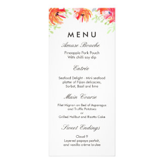 Modern Watercolor Red Flower Poppy Wedding Menu