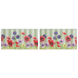 Modern Watercolor Red Poppy Wild Flower Floral Art Pillowcase