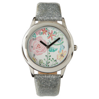 Modern watercolor Romantic Floral Dragonfly Heart Wrist Watches