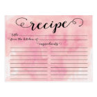 Modern Watercolor Script Bridal Shower Recipe Card