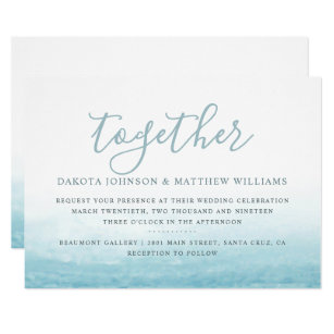 Modern Watercolor Seaside Ocean Wedding Invitation