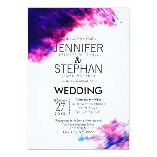 Modern Watercolor Smudges Wedding Invitations