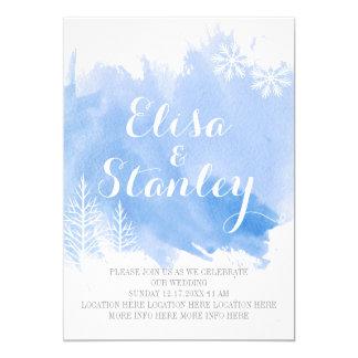 Modern watercolor splash blue winter wedding card