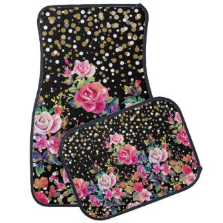 Modern watercolor spring floral and gold dots floor mat
