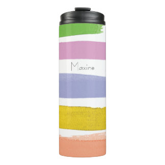 Modern Watercolor Strokes Personalized Rainbow Thermal Tumbler