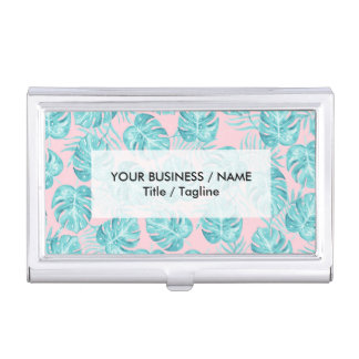 Modern watercolor teal pink tropical cute flowers business card holder