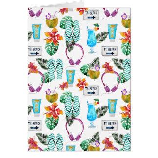 Modern Watercolor Tropical Beach Pattern Card