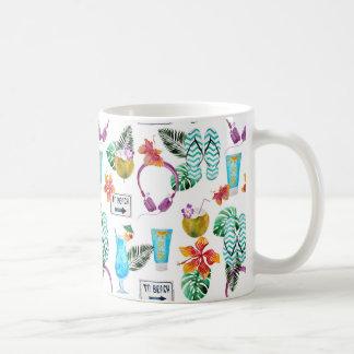 Modern Watercolor Tropical Beach Pattern Coffee Mug