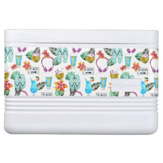 Modern Watercolor Tropical Beach Pattern Igloo Cool Box