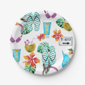 Modern Watercolor Tropical Beach Pattern Paper Plate