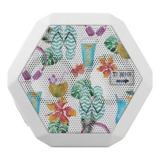 Modern Watercolor Tropical Beach Pattern White Bluetooth Speaker