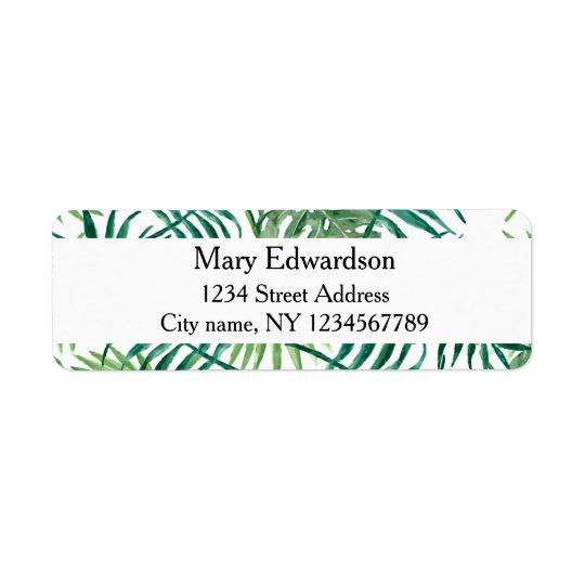 Modern watercolor tropical leaves return address