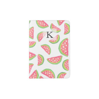 Modern watercolor watermelon fruits pattern passport holder