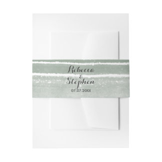 Modern Watercolor Wedding Bellyband Invitation Belly Band