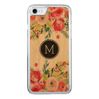 Modern Watercolors Colorful Flowers Monogram Carved iPhone 7 Case