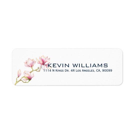 Modern Watercolors Pink Magnolia Return Address Label