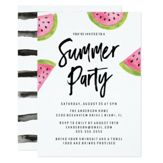Modern Watermelon Summer Party Invitation