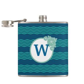 Modern Wave Pattern Monogrammed Hip Flask