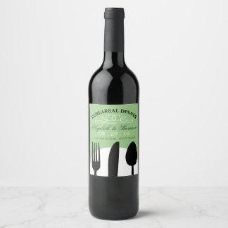 Modern Wedding Black Cutlery Rehearsal Dinner Wine Label