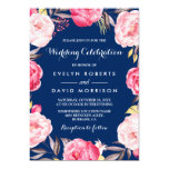 Modern Wedding Celebration Floral Wreath Navy Blue 13 Cm X 18 Cm Invitation Card