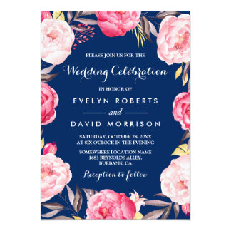 Modern Wedding Celebration Floral Wreath Navy Blue Card