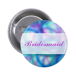 Modern Wedding Colorful Abstract Bridesmaid Button