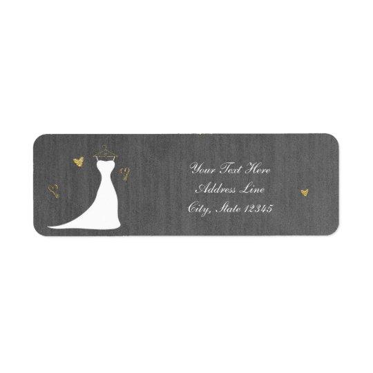 Modern Wedding Dress & Gold Hearts Bridal Shower