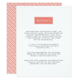 Modern Wedding Guest Information Card | Coral