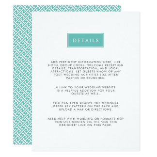 Modern Wedding Guest Information Card | Pool