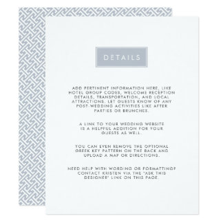 Modern Wedding Guest Information Card | Slate
