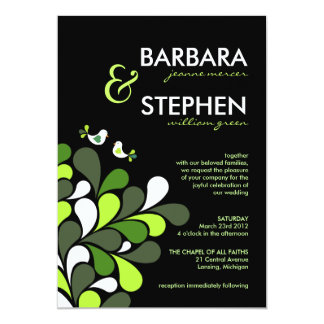 Modern Wedding Invitations - Green, Black, White