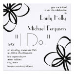 Modern Wedding Invite - Black & White With Flowers