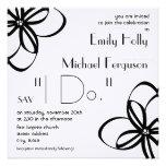 Modern Wedding Invite - Black & White With Flowers