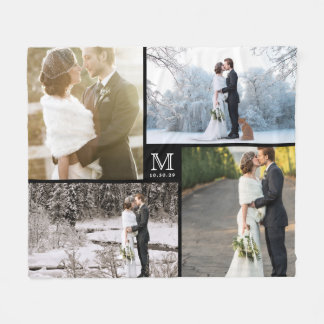 Modern Wedding Monogram 4 Photo Collage Blanket