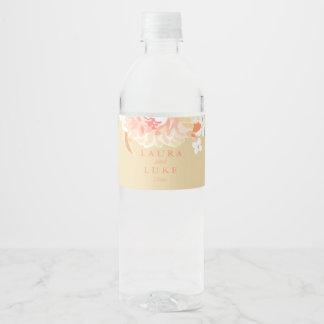 Modern Wedding, Peach Floral Water Bottle Label