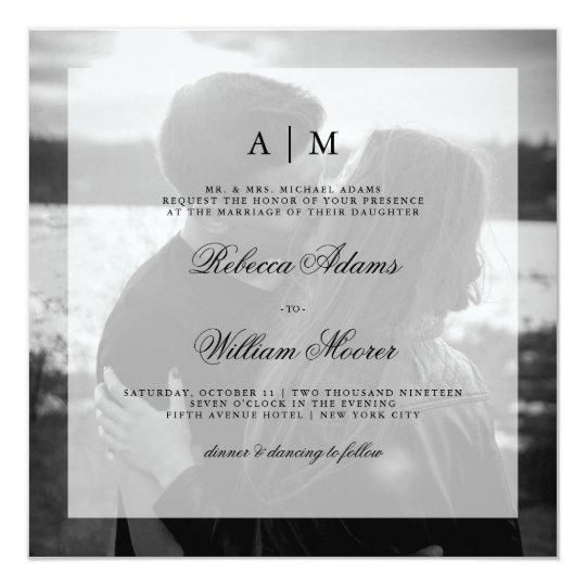 Modern Wedding Photo Square Invitation | Overlay