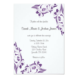 Modern Wedding Purple Floral Invitations | Zazzle