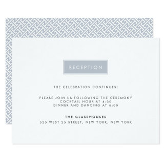 Modern Wedding Reception Card | Slate