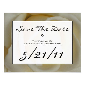 Modern Wedding Save The Date - Off White Rose 4.25x5.5 Paper Invitation Card
