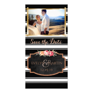 Modern Wedding Save the Date Photo Rose Gold Photo Card