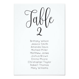 Modern wedding seating chart. Classic table plan Card