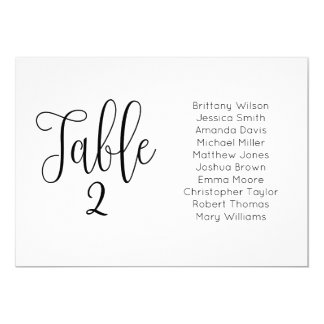 Modern wedding seating chart. Landscape table plan Card