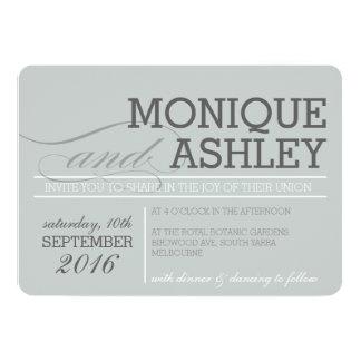 MODERN WEDDING simple bold text monochrome gray 13 Cm X 18 Cm Invitation Card