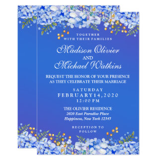 Modern Wedding Watercolor Blue Floral Invitation